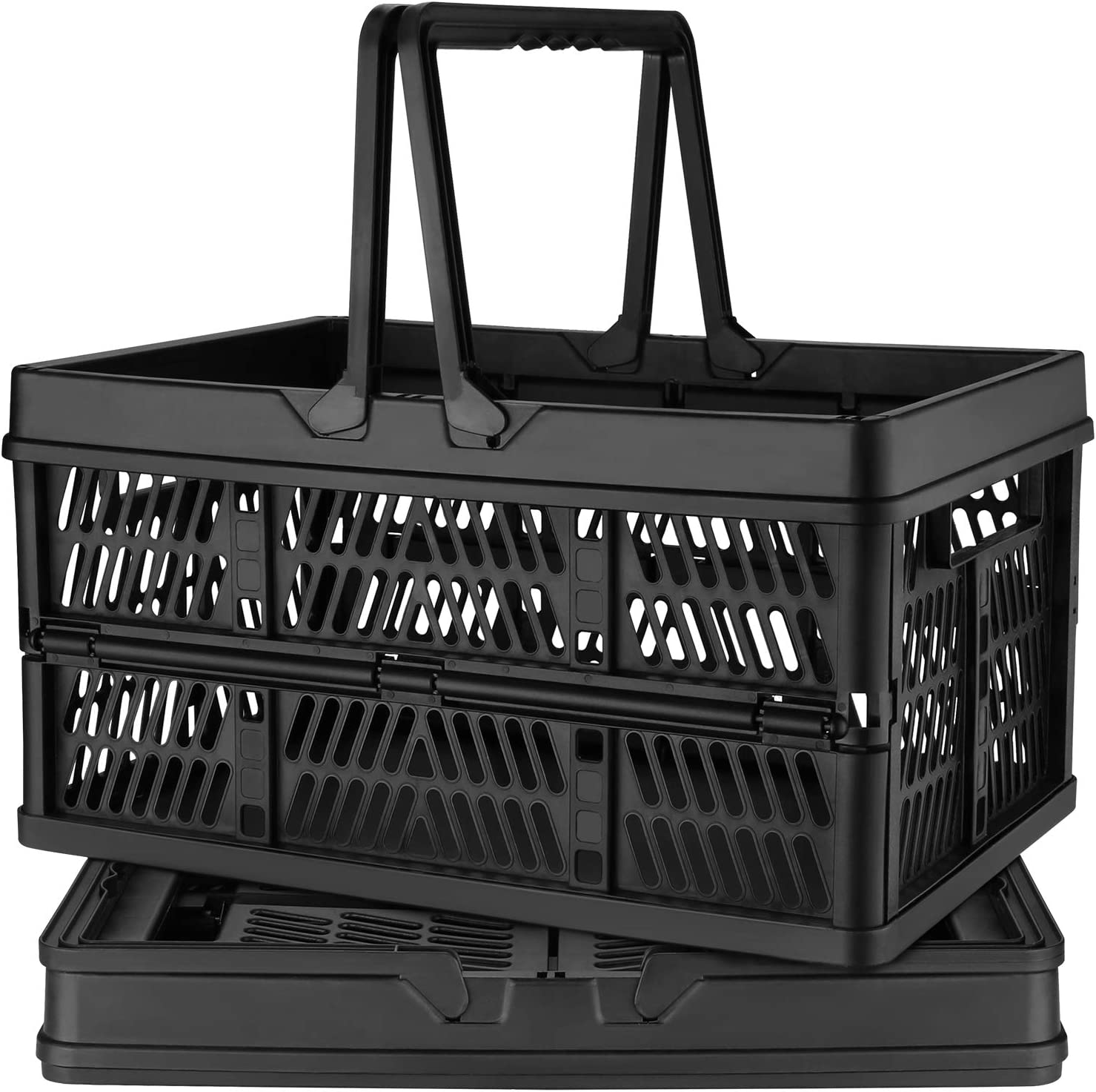 DEAOTEK 19 Liter Collapsible Shopping Baskets - Plastic Grocery Shopping Crate Small Folding Stackable Containers Bins with Handles, Pack of 2, Black