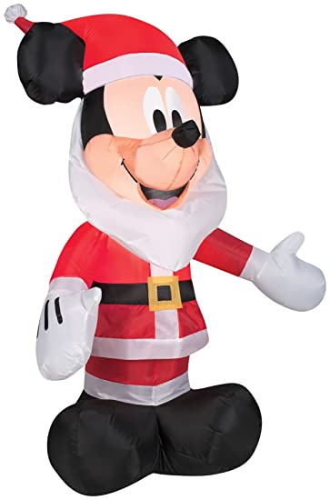 Amazon.com: Gemmy Inflatables 3.5' Mickey Mouse with Santa Beard ...