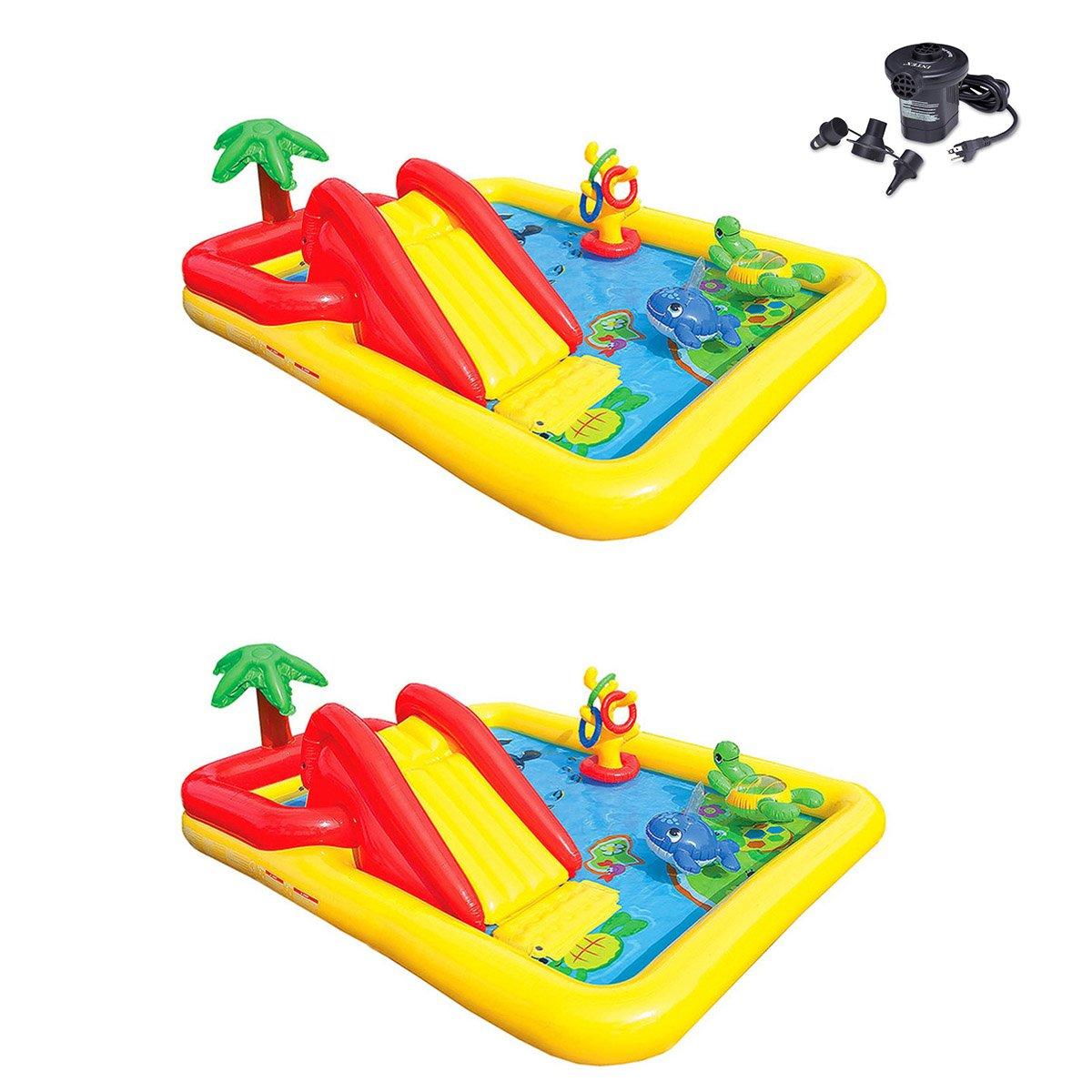 Intex Inflatable Ocean Play Center Kids Backyard Pool (2 Pack) + Air Pump by Intex (Image #1)