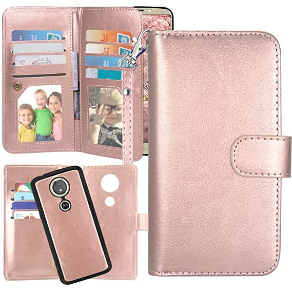 the latest bd63f 3a026 Moto G6 Play Case,Moto G6 Forge case, Harryshell 12 Card Slots Detachable  Magnetic Wallet Case Shockproof PU Leather Flip Protective Cover Wrist  Strap ...