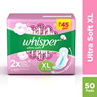 Whisper Ultra Soft XL Sanitary Pads, 50 count