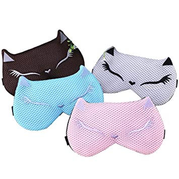 Hualing paquete de 4 dibujos animados gato dormir máscara de ojo sombra de dormir de roncar venda algodón cubierta Blinder: Amazon.es: Salud y cuidado ...
