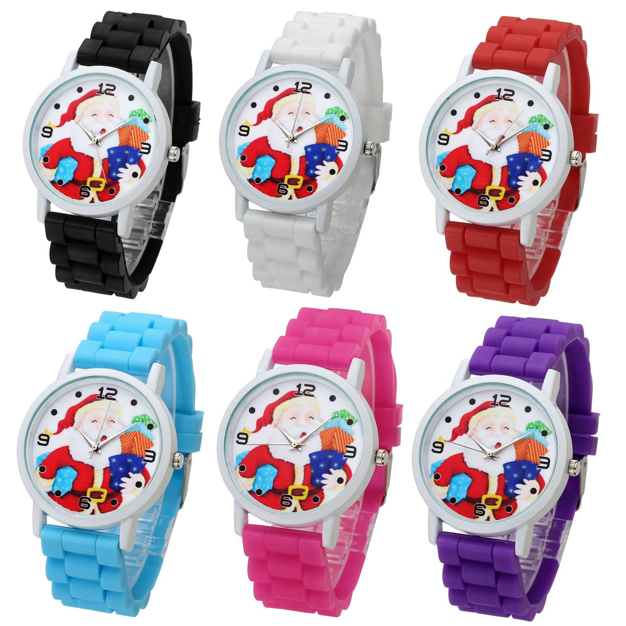 Top Plaza Cute Casual Father Christmas Analog Quartz Watch Santa Claus Pattern Silicone Band Arabic Numerals Wrist Watch for Kids Children #1(Pack of 6)