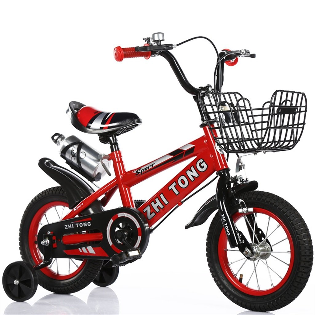 KANGR-子ども用自転車 子供用自転車アウトドアマウンテンバイク2-3-6-8ボーイズとガールズ子供用玩具調節可能ハンドルバー/トレーニングホイール付きサドルウォーターボトルとホルダー-12 / 14/16/18インチ ( 色 : 赤 , サイズ さいず : 12 inch ) B07BTWVYCH 12 inch|赤 赤 12 inch