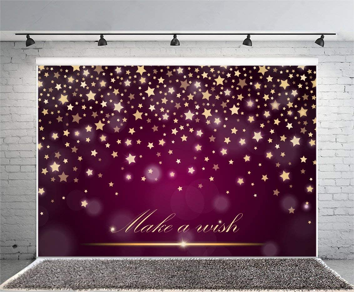 10x8ft Vinyl Photography Backdrop Twinkle Little Stars Starry Sky Golden Stars Kids Birthday Baby Shower Background Event Party Decoration Portrait Photo Shoot Studio Photo Booth Props