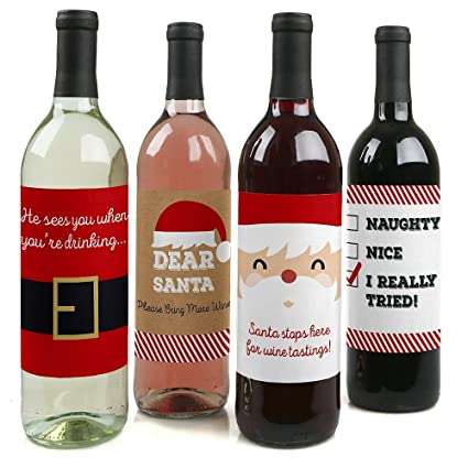 Christmas Wine.Big Dot Of Happiness Funny Jolly Santa Claus Christmas Party Decorations For Women And Men Wine Bottle Label Stickers Set Of 4
