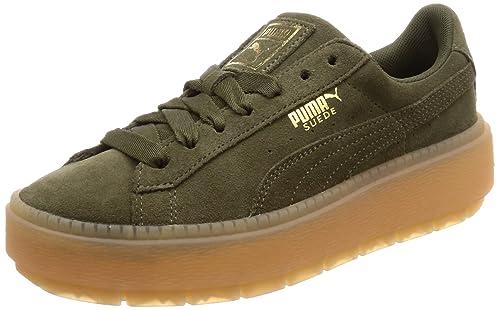 Puma Platform Trace Trainers In Khaki   Green puma shoes
