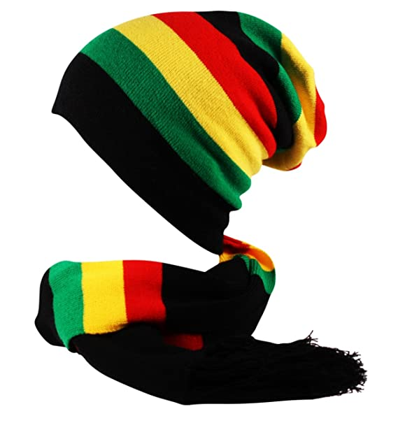 5bf3fa00f 2 in 1 Rasta Oversized Slouch Knit Striped Beanie Hat and Scarf 2 Piece Set  Black Red Yellow Green