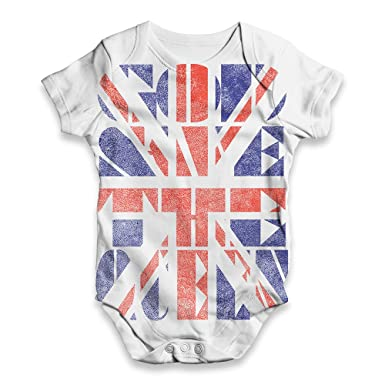 aec35533e37c Baby Onesies Union Jack God Save The Queen Baby Unisex All-Over Print Baby  Grow