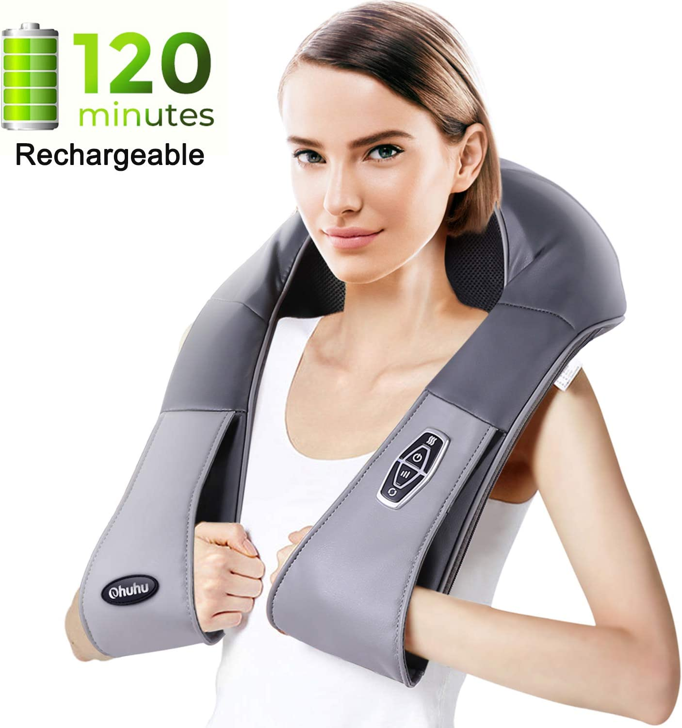 Cordless Rechargeable Shiatsu Back and Neck Massager with Heat, Ohuhu Electric Back Massage Pillow with 3D Kneading Deep Tissue for Foot, Legs, Full Body Massage, Relieve Muscle Pain – Home Car Office