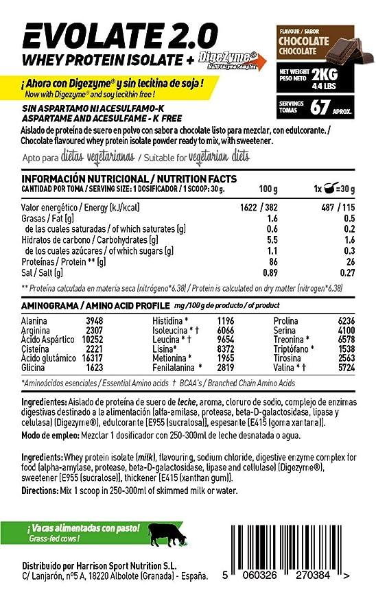HSN Sports - Evolate 2.0 - Aislado de Proteína de Suero (Whey Protein Isolate) - Sabor Frambuesa - 2000 g: Amazon.es: Salud y cuidado personal