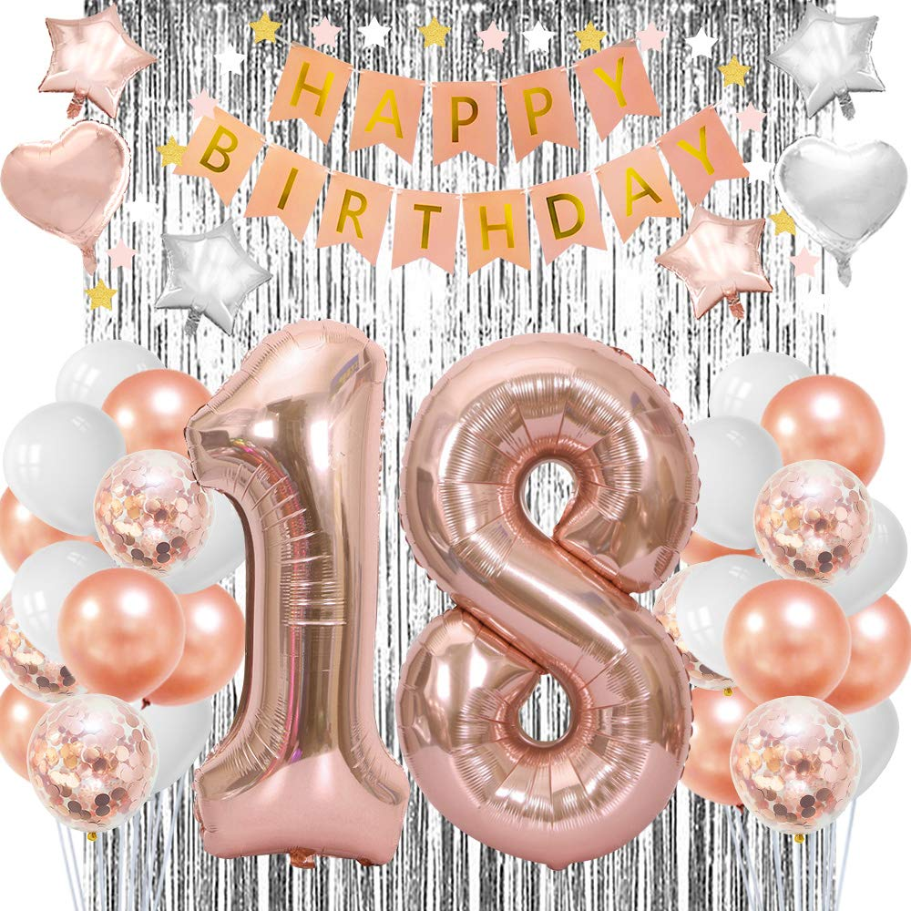18th Birthday Decorations For Girls 18 Year Old Birthday Party Decorations Happy 18th Birthday Decorations 18th Birthday Balloons