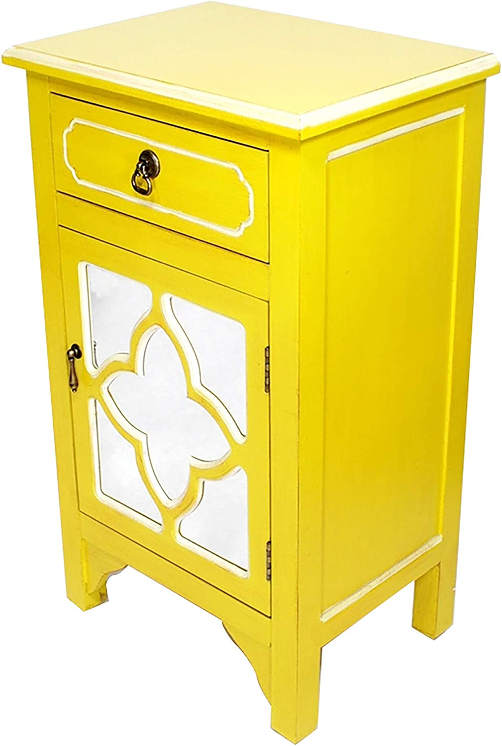 """Heather Ann Creations Standing Single Drawer Distressed Decorative Accent Storage Cabinet with Clover Glass Mirror Window Inserts, 30"""" x 18"""", Yellow"""