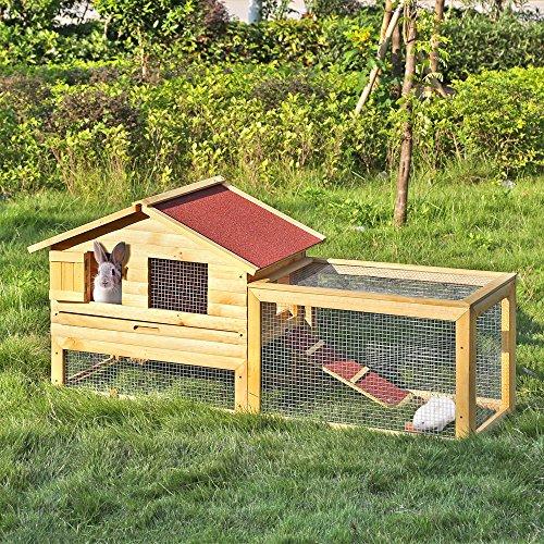 iKayaa AB2012 - 62 pulgadas Jaula con rampa de madera para gallinas conejos,multiuso gallinero conejera para exterior: Amazon.es: Hogar