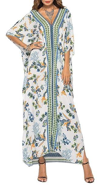 b144c814b3cf Vestito Lungo Fiori Donna Estivo Moda Abito Etnico Elegante Boho Hippie  Tunica da Spiaggia Caftano Africano