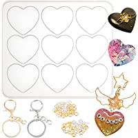 Puffy Heart Silicone Resin Mould with Keychains and Jump Rings 9-Cavity 2x1.7inch