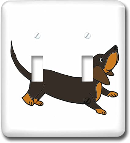 3drose Lsp 201814 2 Funny Crouching Dachshund Puppy Dog Ready To Play Double Toggle Switch Amazon Com