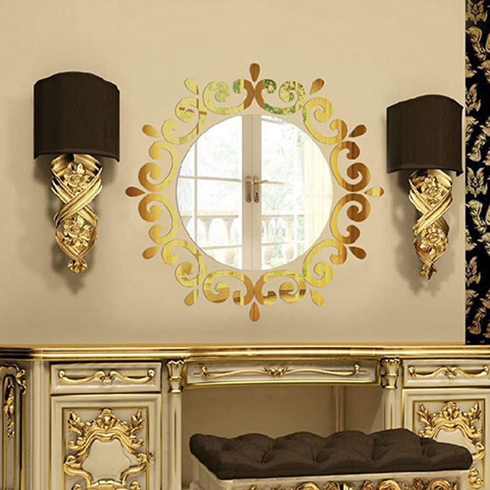 Gold Bluelans/® 3D Morden Feather Mirror Wall Sticker Home Decoration Room Decal Mural Art DIY the round mirror in the middle is not included