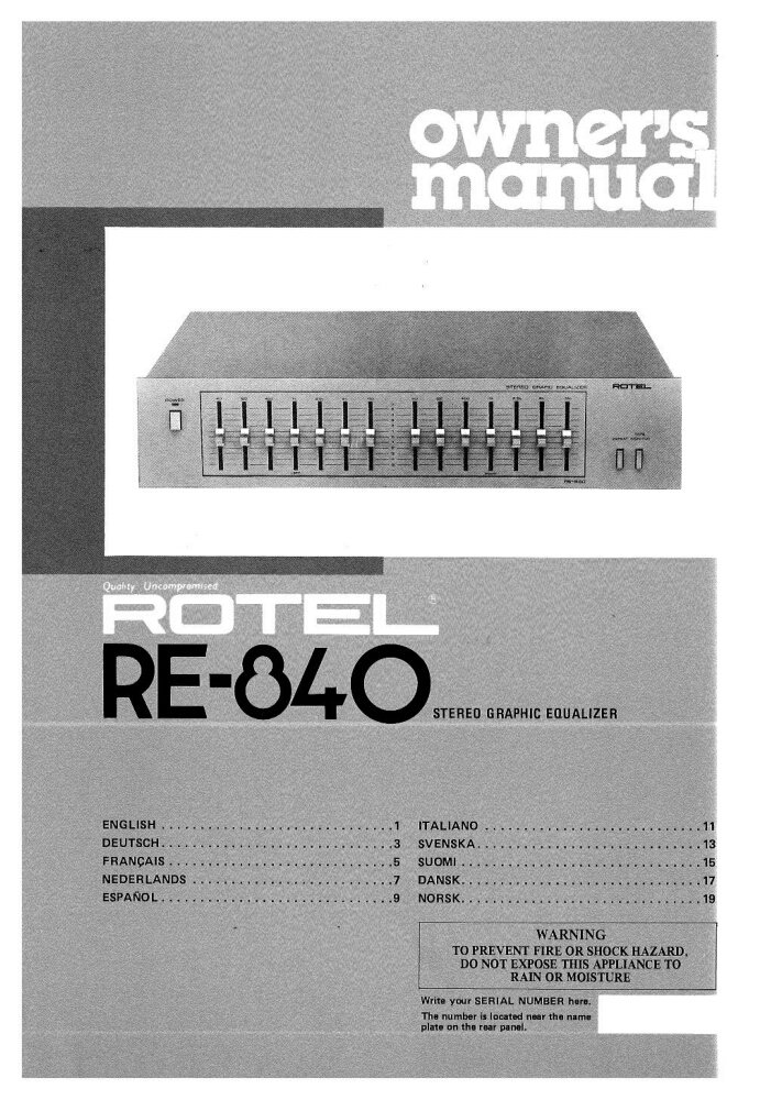 rotel re 840 equalizer owners instruction manual amazon com books rh amazon com Rotel Ingredients Label Rotel Audio