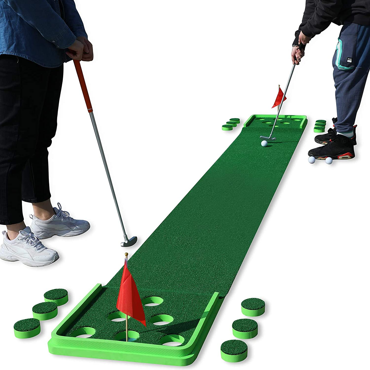 SPRAWL Golf Pong Game Set Putting Mat Indoor & Outdoor Golf Putting Green Golf Putt Practice Training Aid Gift for Home, Office, Backyard