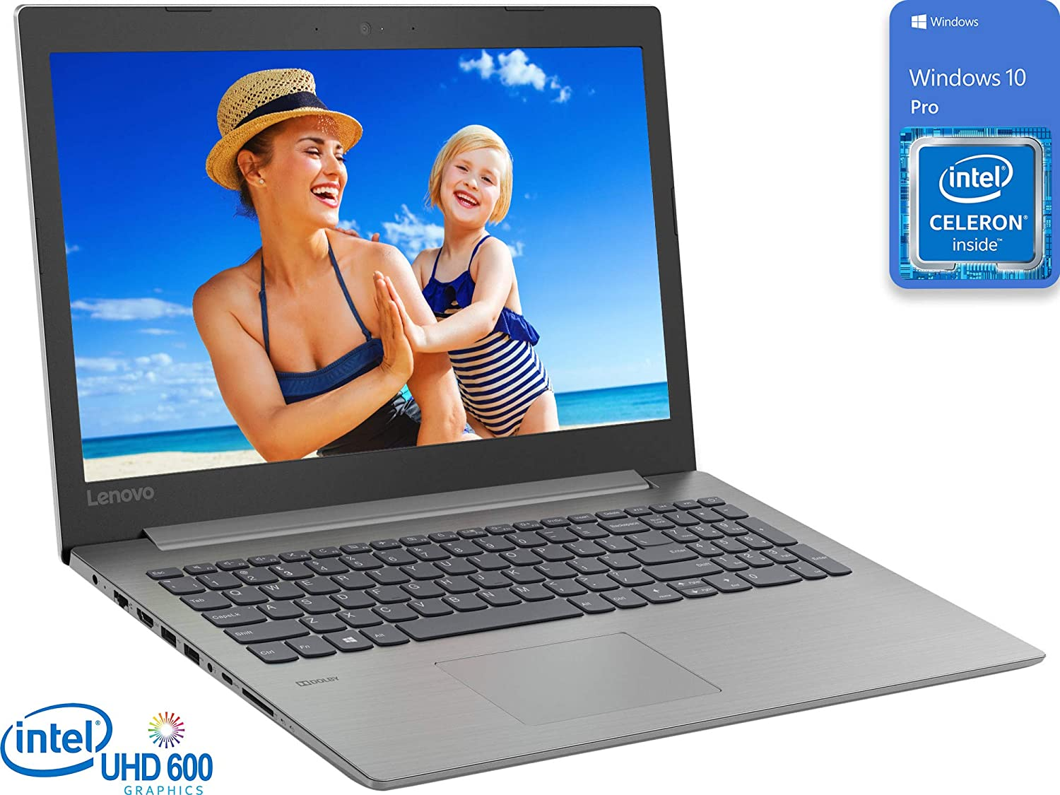 "Lenovo IdeaPad 330 Laptop, 15.6"" HD Display, Intel Celeron N4000 Upto 2.6Ghz, 8GB RAM, 1TB SSD, UK Keyboard, DVDRW, HDMI, Card Reader, Wi-Fi, Bluetooth, Windows 10 Pro"