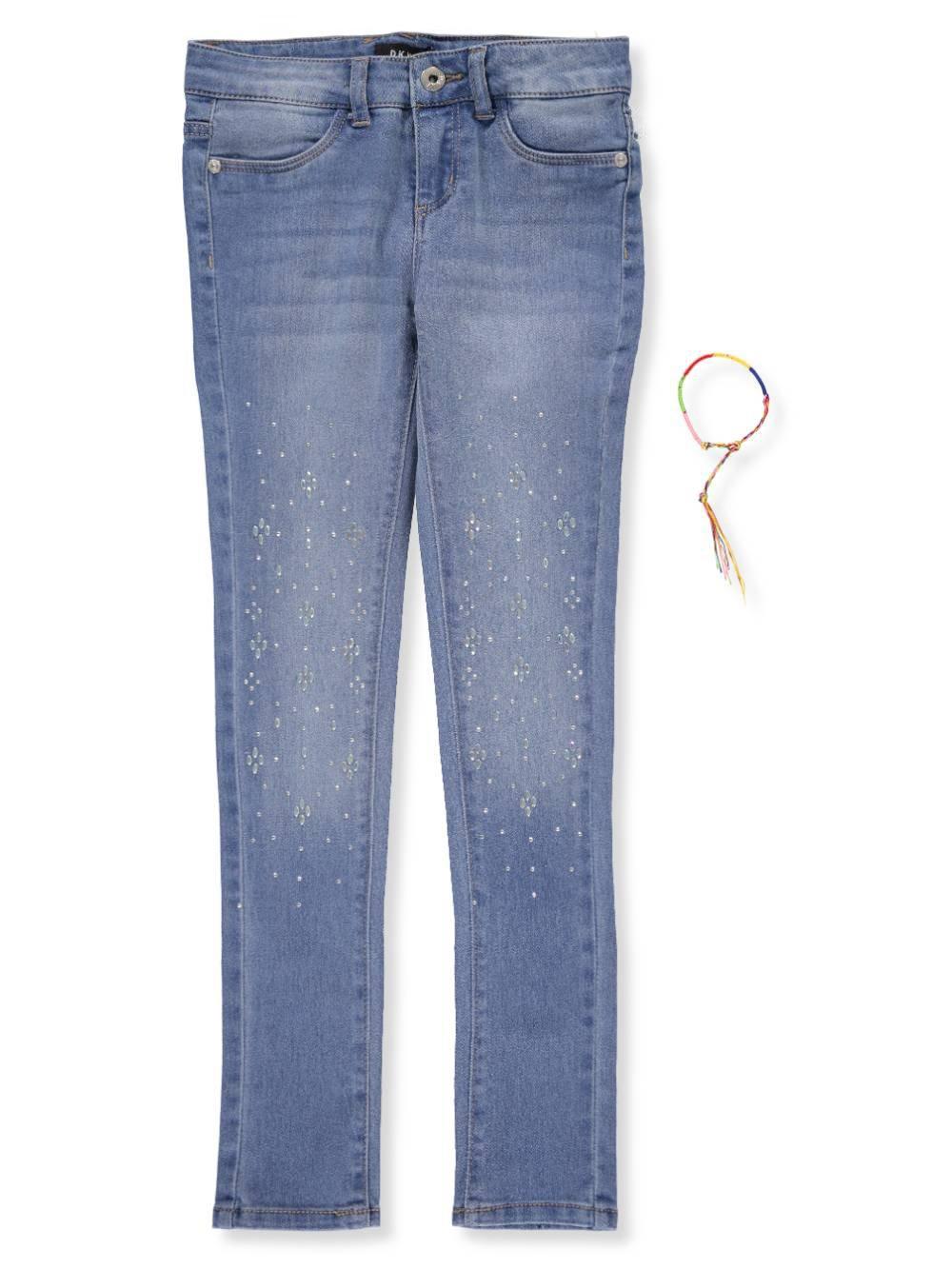DKNY Big Girls' Full Length Stone Skinny Jean, Blue Jay, 14