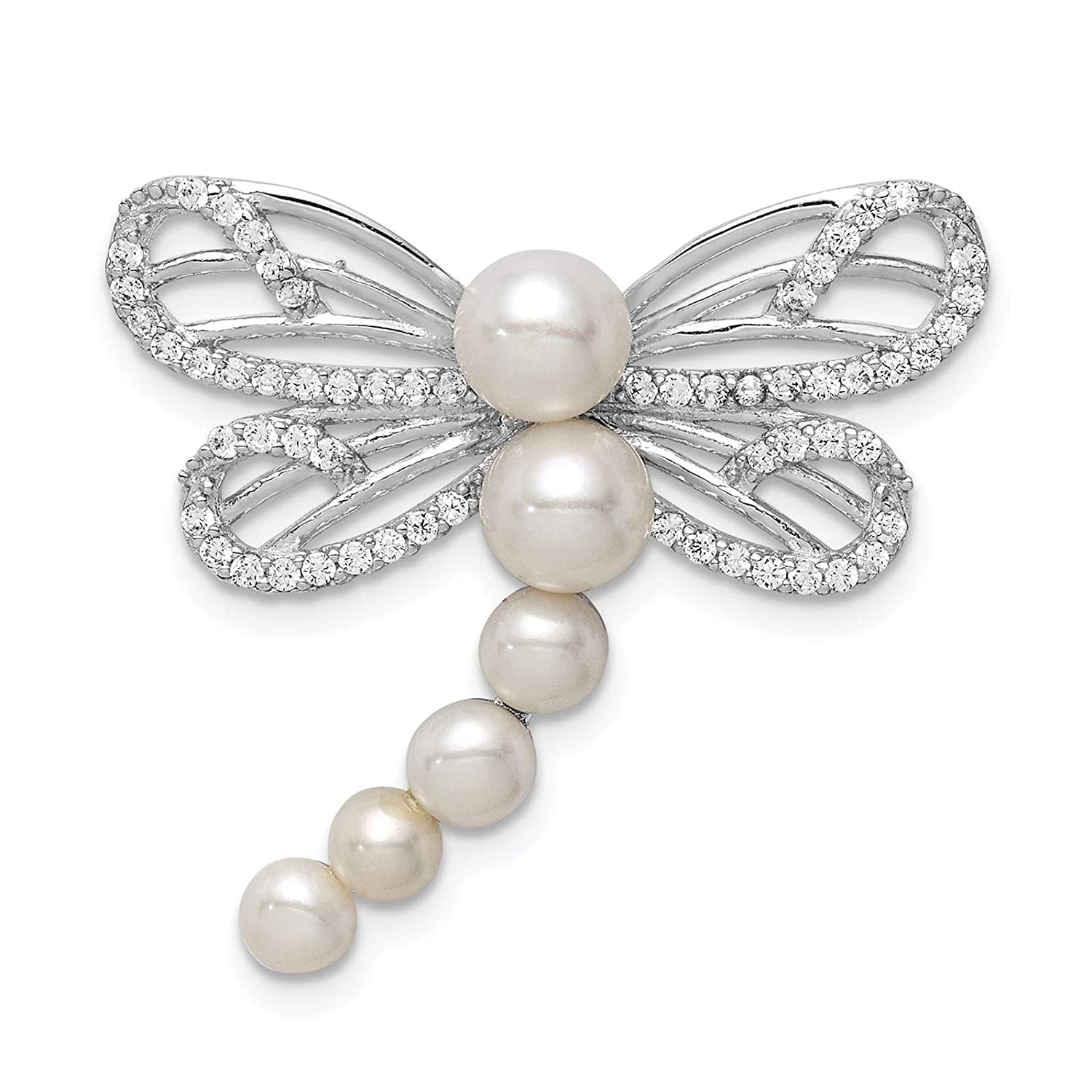 925 Sterling Silver Rhodium-plated White Freshwater Cultured Pearl /& CZ Dragonfly Chain Slide Pendant