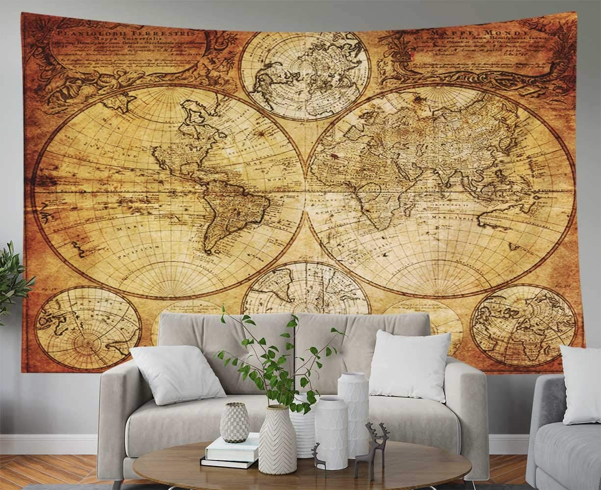 Map Tapestry World Map Tapestry Map Tapestry Wall Hanging Map Outline Tapestry Wall Map Tapestry Vintage Map Tapestry Christmas Dorm Decor 50X60 Inches,Black White Capsceoll Map Tapestry Black