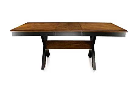 Furniture of America Harvest Rectangular Dining Table with 18-Inch Leaf Extension, Dark Oak Black