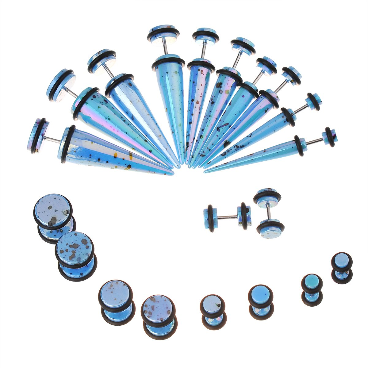 IPINK-10 Pairs Acrylic Taper & Barbell Round Stud Fake/ Cheater/ Illusion Plug Earrings Set 6g-00g Look (Blue)