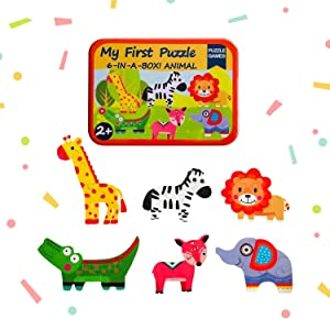 Baby's First Puzzle Wooden Animal and Vehicles Puzzles for Cognitive Development of Toddlers and Preschoolers – Homeschooling and Kindergarten Montessori Teaching Aids – Forest Animals