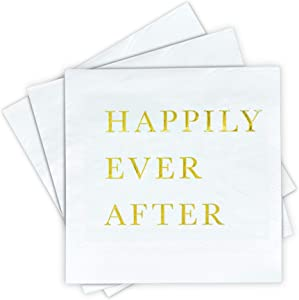 Gold Cocktail Napkins, Wedding Party Napkins - Happily Ever After Disposable Paper Napkins for Wedding Reception, Engagement Party, Bridal Shower, Anniversary, 3-Ply Gold Napkins by Sunshine Supply