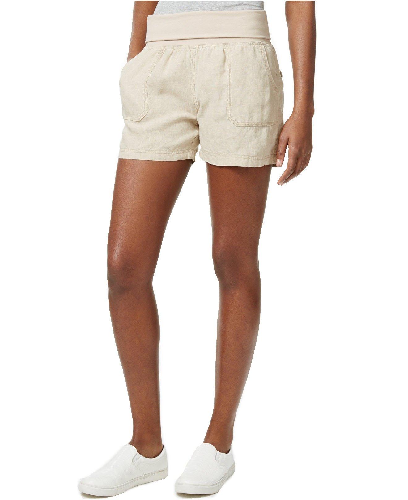 Calvin Klein Women's Performance Foldover Waistband Shorts (Medium, Natural)