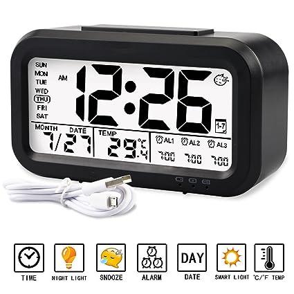 Despertador Reloj Aiduy multifuncional con pantalla grande de LED, muestra en pantalla temperatura, fecha, Luz de noche y carga por USB Para niños, ...