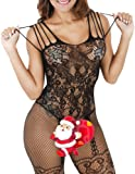 Buauty Womens Floral Lace Fishnet Open Crotch Bodystocking Lingerie