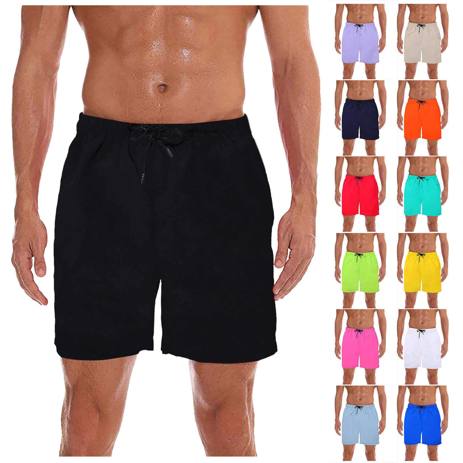 2DXuixsh Mens Quick Dry Swim Shorts Swim Trunks Drawstring Elastic Waist Bathing