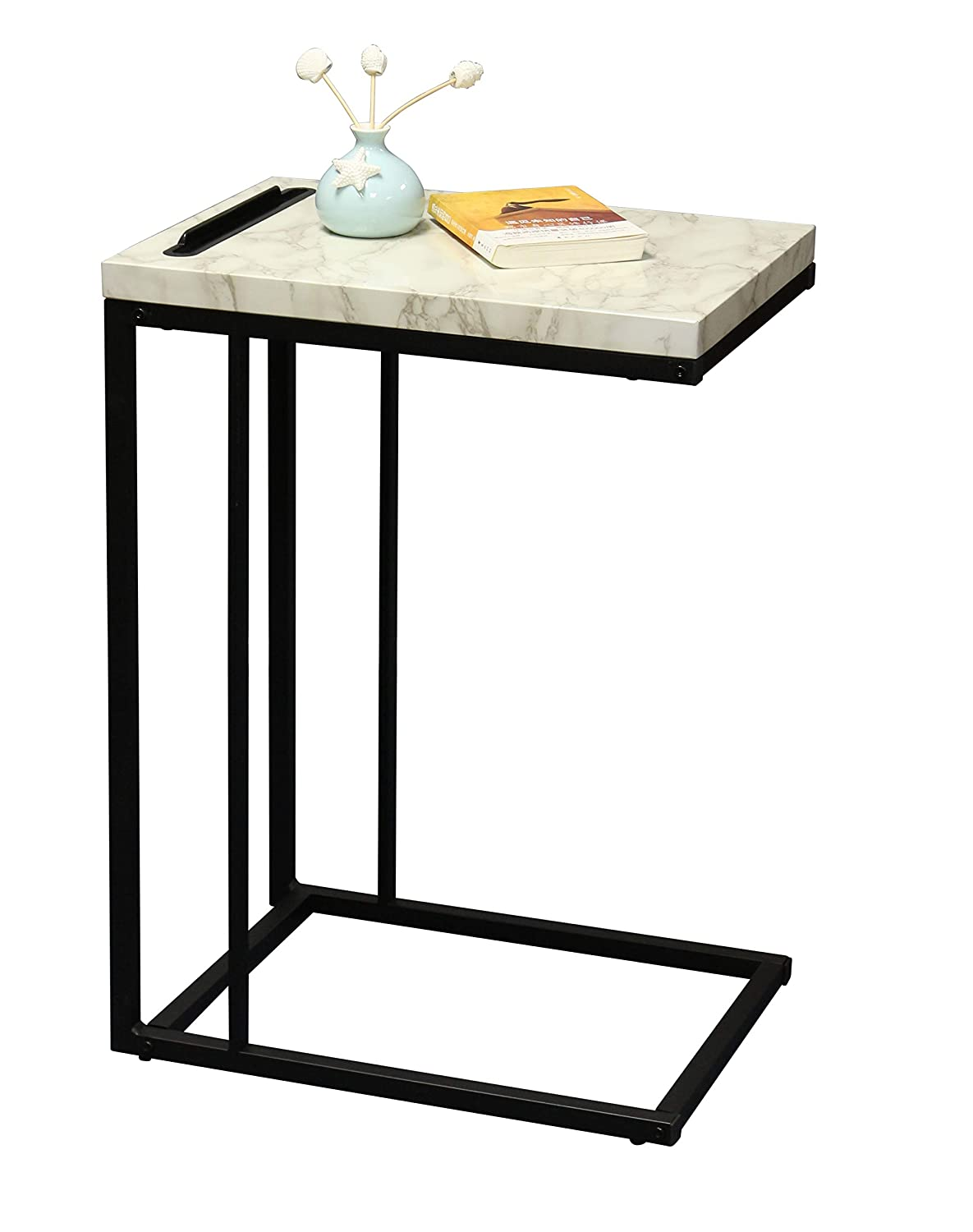 Amazon Com Ehemco Slide Under Sofa Side Table With Faux Marble Top