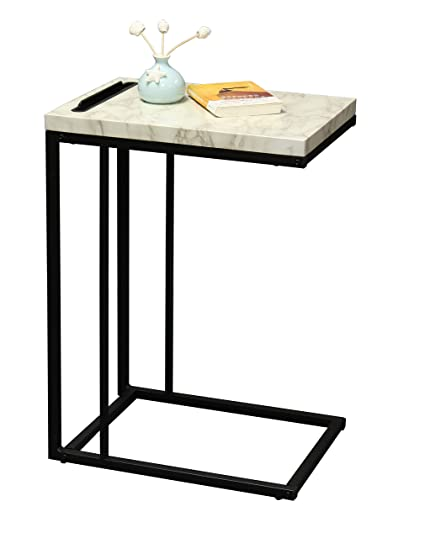 amazon com ehemco slide under sofa side table with faux marble top rh amazon com under sofa table ikea under sofa table tray