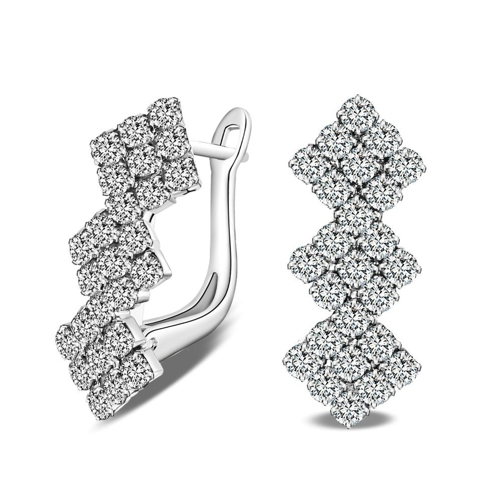 Onefeart Gold Plated Earrings Women Zirconia 3 Row CZ Square Pendant Linked Line Of Beauty 20x12MM Silver