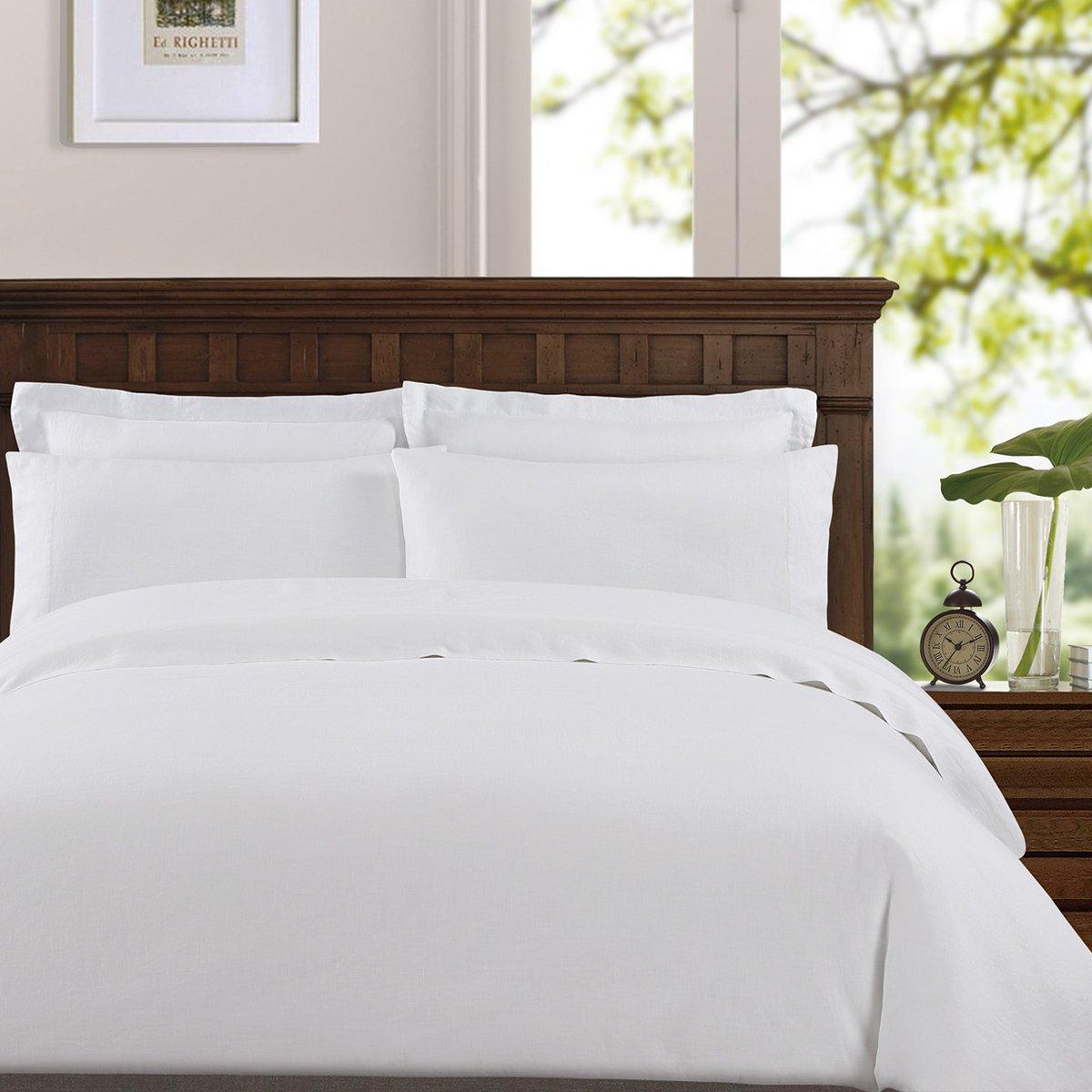 Echelon Home Washed Belgian Linen Sheet Set, California King, Eggshell White