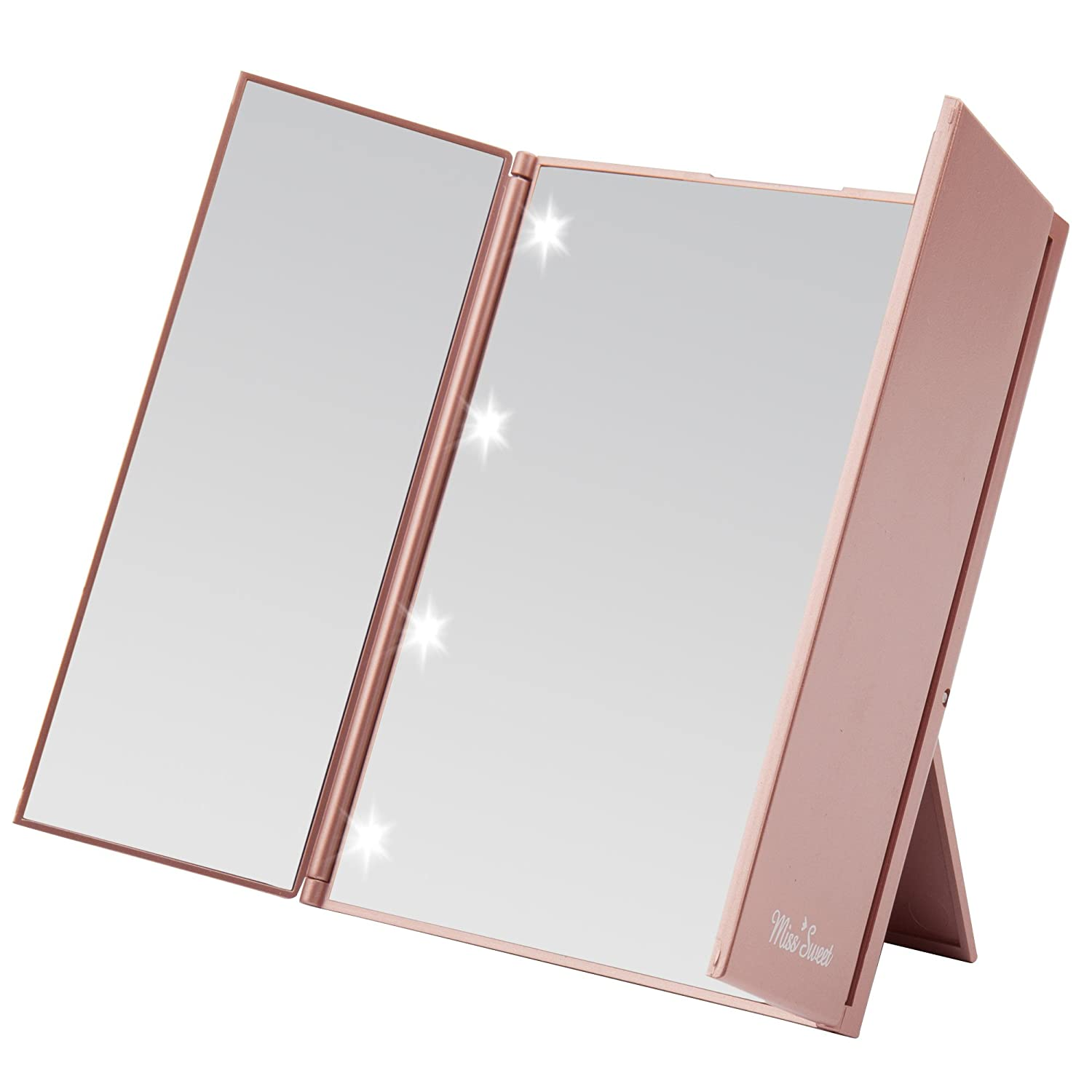 Miss Sweet LED Tri-fold Lighting Mirror Led Mirror Cosmetic Mirror Travel Mirror Compact Pocket Mirror for Beauty Makeup (Gold Rose)