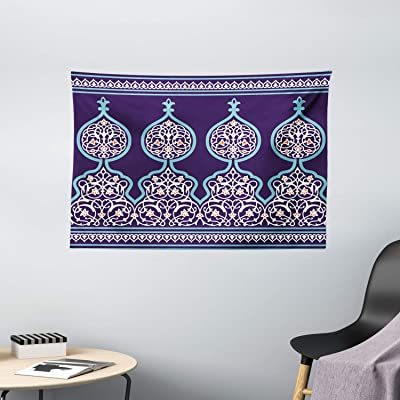 Buy Ambesonne Moroccan Tapestry Decor Bohemian Style Old Middle Eastern Turkish Figures Mystical Ornamental Image Print Wall Hanging For Bedroom Living Room Dorm 60 X 40 Teal Royal Blue Online In Indonesia B01muqqj09