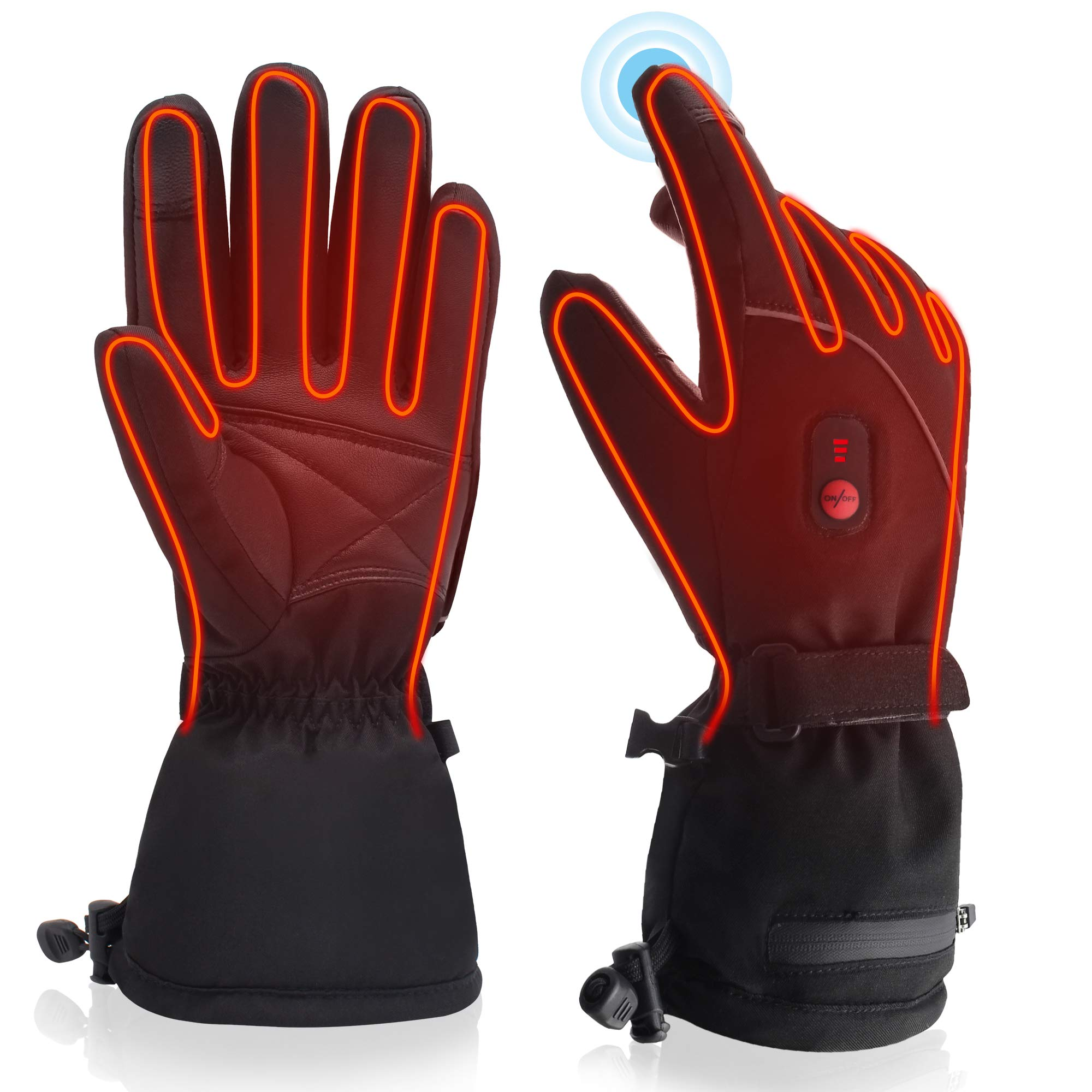 QILOVE Winter Warm Electric Heated Gloves Rechargeable Battery Powered Men Women Snow Gloves Cold Weather Gloves Liners Hunting Skiing Waterproof Touch-Screen (Upgraded Heated Gloves-L)