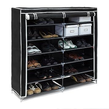 Relaxdays Schuhschrank VALENTIN hoch H x B x T: 161 x 88 x 30 cm Schuhregal mit Stoffbezug und 10 Ablagen Stoffschrank mit Reißverschluss für