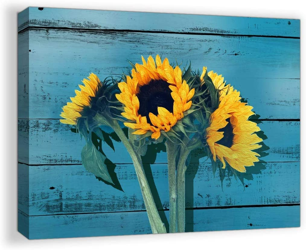 Rustic Bathroom Decor for the Home Country Wall Art for Bedroom Sunflower Themed Farmhouse Bathroom Pictures Teal Decor Kitchen Canvas Framed Artwork for Walls Blue Wooden Board Modern Home Size 12x16