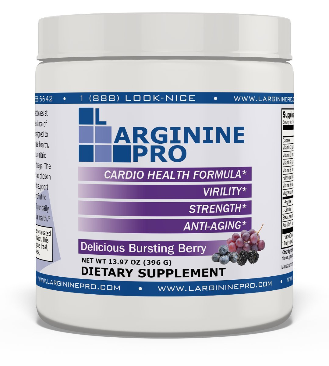 L-arginine Pro, 1 NOW L-arginine Supplement - 5,500mg of L-arginine PLUS 1,100mg L-Citrulline + Vitamins & Minerals for Cardio Health, Blood Pressure, Cholesterol, Energy (Berry, 3 Jars) by L-arginine Pro (Image #2)