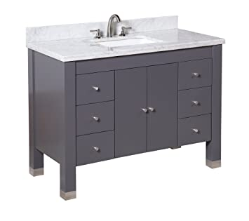 Kitchen Bath Collection KBC9948GYCARR Riley Bathroom Vanity With Marble  Countertop, Cabinet With Soft Close Function