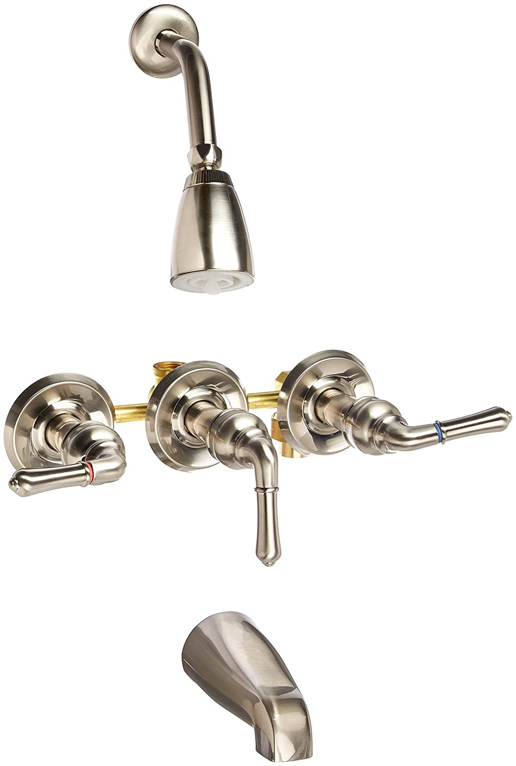 Elements Of Design Eb238 Magellan Three Handle Tub Shower Faucet