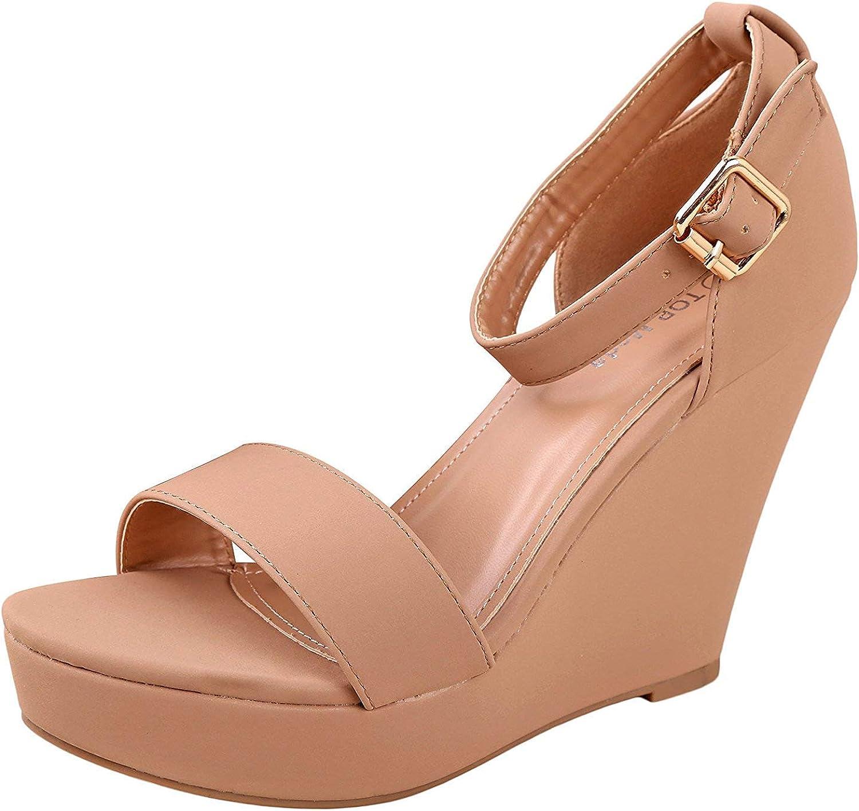 Original Intention Womens Sandals Wedge Strappy Platform Sandals Black Shoes for Women