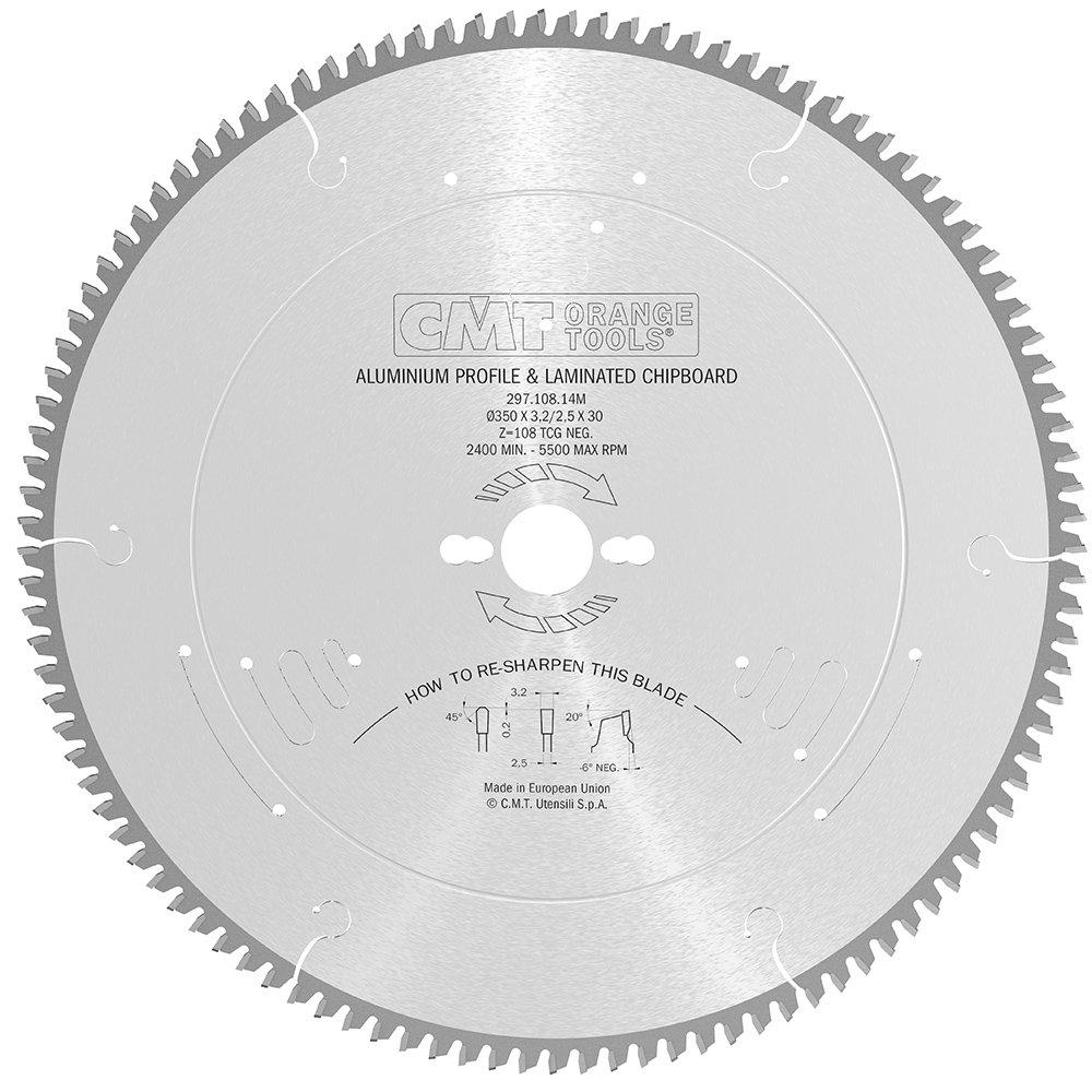 CMT Orange Tools 297.108.14M - Sierra circular 350x3.2x30 z 108 tcg -6 grados silenciosa